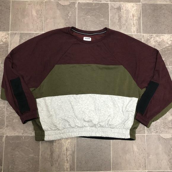 Hurley Womens Sport Block Crew Neck Pullover Fleece Sweatshirt
